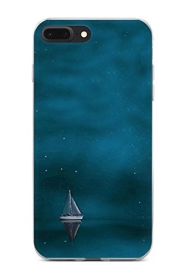 Lopard Apple İphone 8 Plus Kılıf Mavi Gemi Kapak Renkli